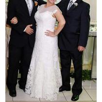 Vestido De Noiva Romântico, Em Ótimo Estado!