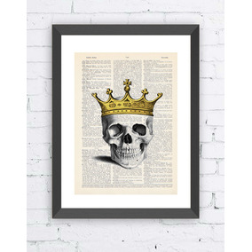 Cuadro Decorativo Vintage 31x38 Cm. King Skull, Craneo Rey
