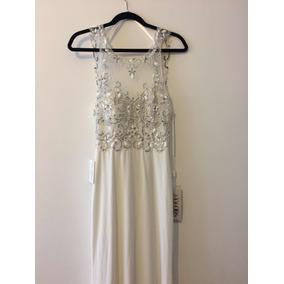 Vestido Blanco Elegante Con Pedrería
