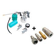 Kit Pintura Pistola Mangueira Compressor + Engate Rápido 1/4