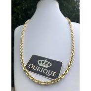 Corrente Masculina Cadeado Maciça Cordão De Ouro 18k 750