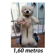 Mamãe Ursa Gigante De Pelúcia Creme 160cm + Filhotinho 25cm