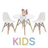 Combo Mesa Eames Kids 60 + 2 Sillas Eames Niños Color Blanco