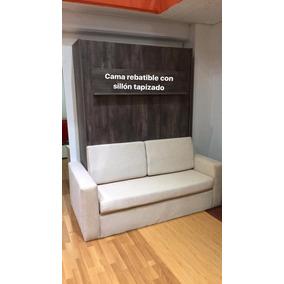 Cama Rebatible Con Sillon Tapizado En Chenille Monoambientes