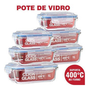 Kit Com 6 Potes De Vidro Click Glass Premium 100% Herméticos