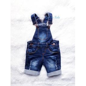 Macacão Jardineira Short Jeans Escuro Infantil Menino Lindo