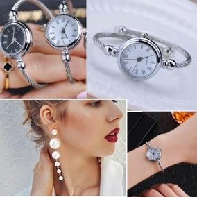 Kit Brincos Femininos Perolas Luxo Grande+relógio Bracelete