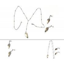 Set De 3 Piezas Collar Y Aretes Diseño Hojas
