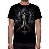 Camisa, Camiseta Caveira Death Prayer - Estampa Total