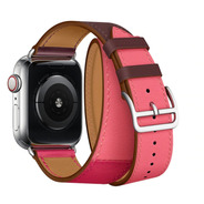 Pulseira Couro Double Tour P/ Apple Watch 42/44mm - Rosa