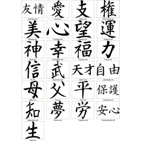 Skin Adesivo Letras Japonesas Kanji Felicidades Amor Paz