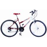 Bicicleta Feminina Aro 26 18 Marchas Dalia Vermelho E Branco