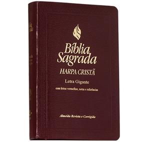 Bíblia Letra Gigante C/ Harpa Cristã - Capa Vinho