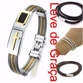 Bracelete Pulseira Masculina Banhada Ouro 18k Cruz Dourada