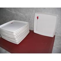 Platos Cuadrados Ceramica X 6 Unidades Diseño Flor Roja