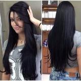Cabelo Alongamento Mega Hair Tic Tac Preto Fibra 60cm L