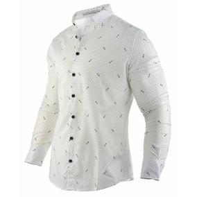 Camisa Farenheite Blanca Estampada Algodón Y Poliéster