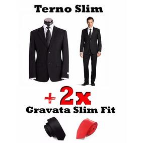 Terno Slim 100% Poliester + 2 Gravatas Slim Fit Original
