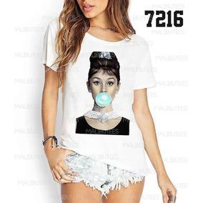 Camisetas Audrey Chicle Azul Blusas Femininas T-shirt