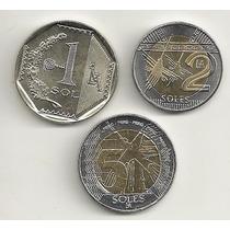 Set Com 3 Moedas Peruanas - Todas F C - Novo Cunho Monetário