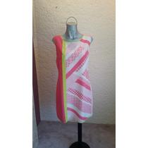 Vestido Nuevo Color Rosa Con Línea Amarilla Maria Isabel