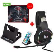 Audifonos Diadema Gamer Gt15rgb+ Pad Mouse + Soporte Celular