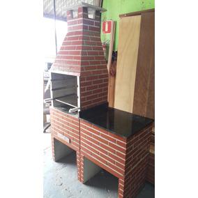 Churrasqueira Pré Moldada 65cm, Com Bancada De Pedra!