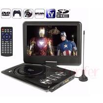 Dvd Portátil Tela Lcd 9 Giratória Tv Usb Sd Fm Mp3 Cd Jogos
