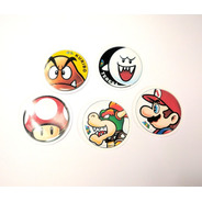 Set De 5 Stickers Circulares De Super Mario