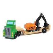 Camión Juguete De Madera Transporta Retro Excavadora