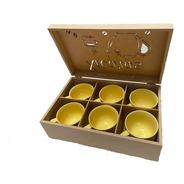 Caixa De Mdf Cru Com 6 Xícaras De Chá Color