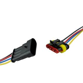 Kit 1 Conector Automotivo 4, 3 E 2 Vias Impermeável Montado
