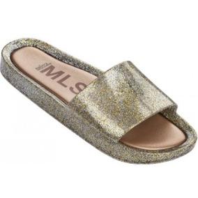 Melissa Beach Slide Vidro Glitter Ouro 32291