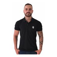 Camisa Polo  Piquet Lobo Masculina  Preta