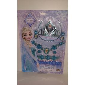 Kit Frozen Personagem Elsa , Bracelete Coroa Colar Brincos
