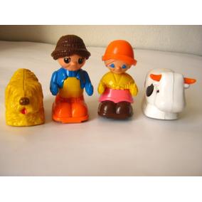 4 Figuras Matchbox 1978 Abuelos Y Animales 6cm