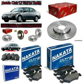 Kit Disco E Pastilhas Honda Civic 2001 2002 2003 Até 2006