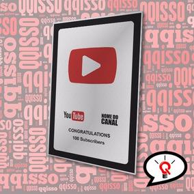 Placa Canal Youtube Inscritos Youtuber Frete Grátis