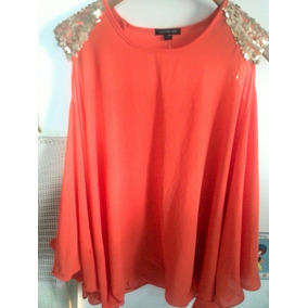 Camisa De Chifon Importada Coral Para Gorditas