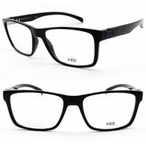 Armação Para Óculos De Grau Hb M93108 Preto Brilho Azul