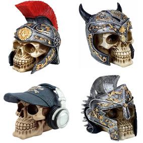Kit 4 Cranio Caveira Viking Boné Estatua Resina P/ Decoração