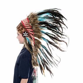 Penacho Indigena Apache Indio Para Niños 69 Aqua Turquesa