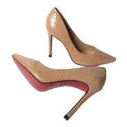 Scarpin Sapato Nude Croco Salto Alto Sola Vermelha