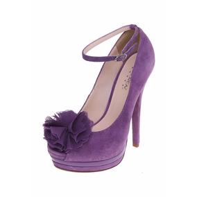 Zapatillas Color Lila Altura 15cm Andrea Gamuza Piel Flor