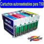 Cartuchos Autoreseteables + 600cc Tinta T50 Tx730 Tx720 R290