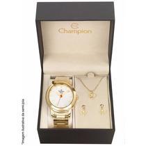 Relógio Champion Feminino Cn27545w - Kit Colar E Brincos