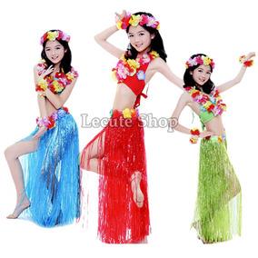 Falda Hawaiana Larga Fiesta No Incluye Collar Diademas