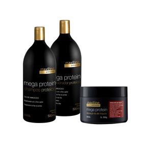 Maxiline Mega Protein Shampoo Condicionador E Máscara Kit