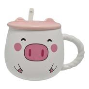 Mug Pocillo Taza Cerámica Cerdito Cerdo Pig Piggy Cuchara