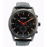 Reloj Stone Quartz Acero Negro Y Rojo Cuero Garantia Oficial